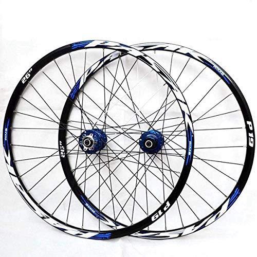 WYJW Ruedas 26/27.5/29In Juego de Ruedas de Bicicleta Ruedas de Bicicleta de montaña híbridas Doble Pared Llanta MTB Freno de Disco Fibra de Carbono Ultraligera Liberación rápida 32