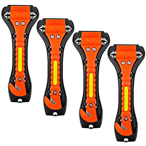ZHSX Safety Hammer, 4 Pack Car Emergency Escape Tool Car Window Breaker and Seat Belt Cutter with Light Reflective Tape for Family Car Life Saving Survival Kit