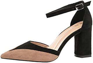 LUKEEXIN Women's High-Heeled Thick with Single Shoes Sexy Professional OL Color Matching Women's Shoes
