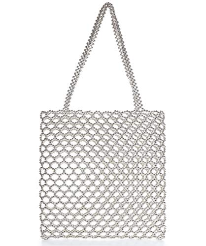 Miuco Tote Bag For Women Handmade Weave Pearl Handbag Wedding Party Shiny Beaded Bag Purse with inner pouch Silver