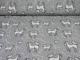 Jersey Baumwolle Pferde, Ökotex 100, grau (25cm x 150cm)