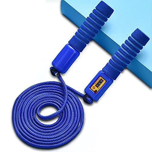 Aloces Comba de saltar para niños, con contador y asas cómodas para entrenamiento deportivo, ajustable, para entrenamiento de fitness y consumo de calorías (azul)