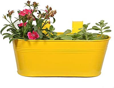 TrustBasket Oval Railing Planter -Yellow