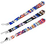 CY2SIDE 3pcs Sonic Badge Lanyards for Kids, Hedgehog Keychain Badge Holder for Boys, Phone String Holder for Adults, Cartoon Sonic Lanyard Holders for ID Badges, Name Tag, Phone String Strap with Hook