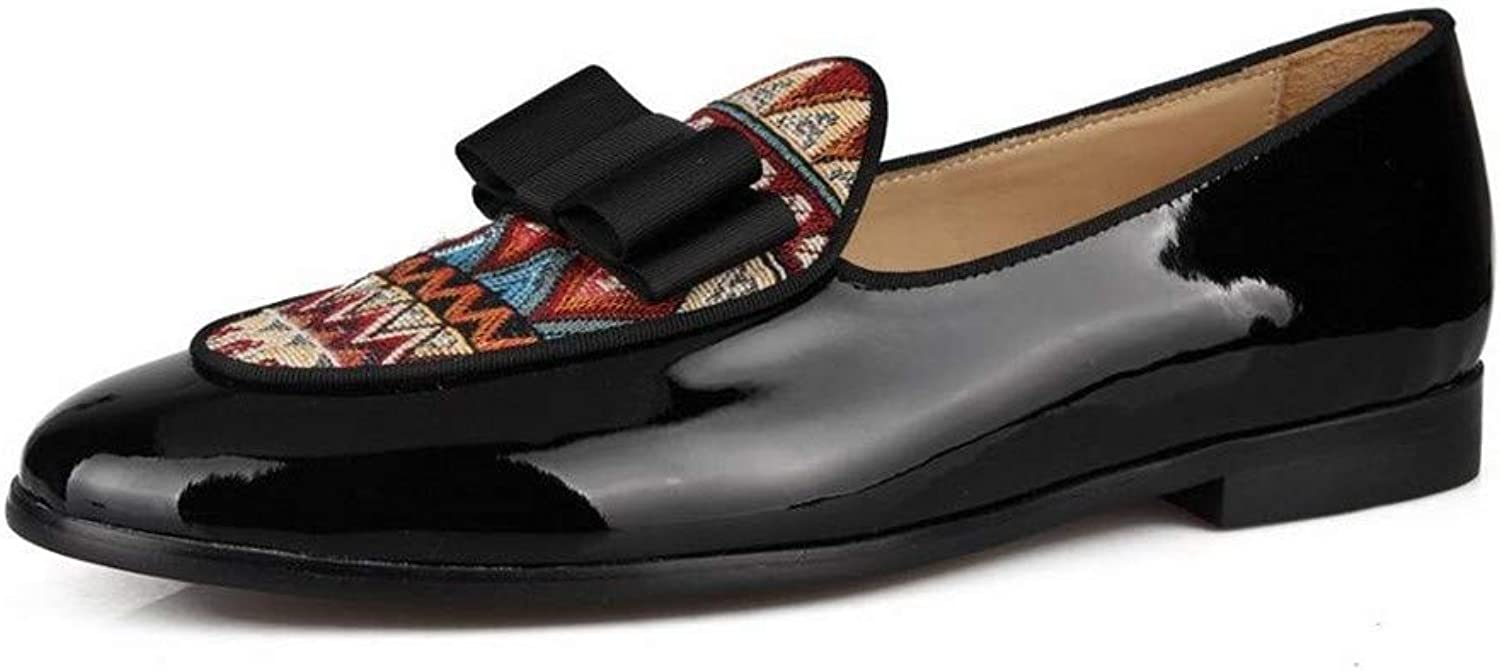 Zhaoguan Patent Leather Loafers Men Bow Tie Slippers Wedding Dress shoes Flats Casual shoes