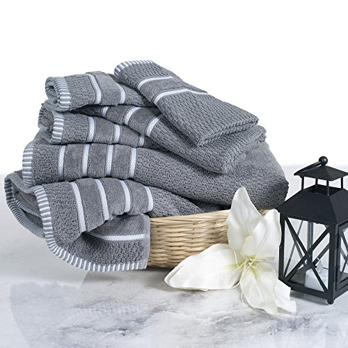 Combed Cotton Towel Set- Rice Weave 100% Combed Cotton 6 Piece Set With 2 Bath Towels, 2 Hand Towels and 2 Washcloths by Lavish Home- Silver Gray