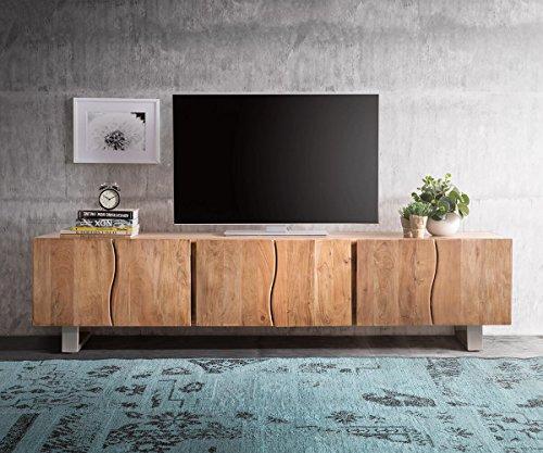 DELIFE Fernsehtisch Live-Edge Akazie Natur 220 cm 6 Türen Massivholz Baumkante Lowboard