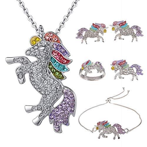 Auidy_6TXD 5 Stück Einhorn Schmuckset, Kristall Anhänger Halskette Armbänder Ohrringe Ring Für Mädchen und Frau