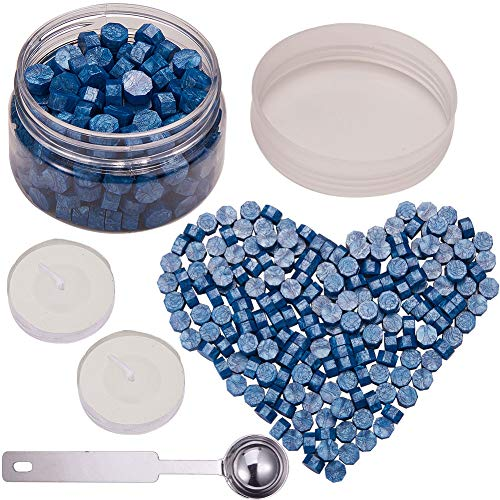 CRASPIRE 210PCS Wax Seal Beads, Royal Blue Octagon Sealing Wax Beads Kit Packed in Can 9mm Wax Seal with 2Pcs White Tea Candles 1 PC Metal Wax Melting Spoon for Letter Greeting Card Wax Sealing Stamp