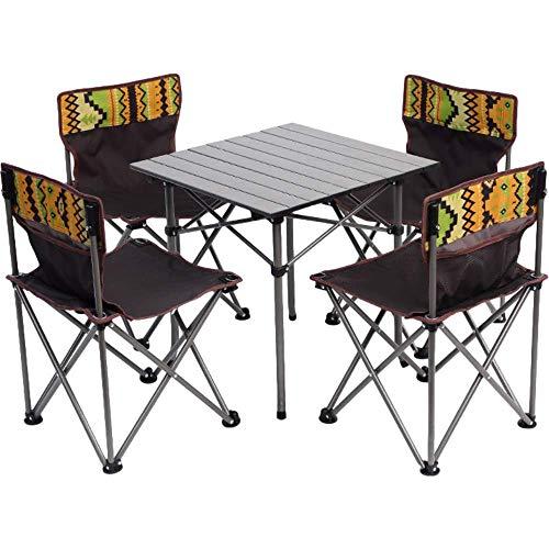 Mesa plegable con 4 sillas Set portátil altura ajustable mesa de camping interior y al aire libre