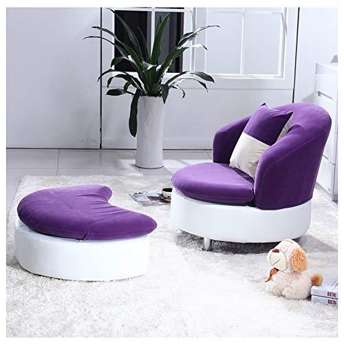 H-ei Fashion Lazy Sofá Solicitud de Tela Un Solo Tela Balcón Sala de Estar Sombrilla de Ocio Creativo Silla con reposapiés 88 × 85 cm (Color : Purple)