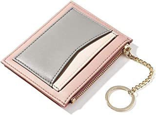 Women Small Wallet Slim Leather Card Case Holder Front Pocket Wallet Fashion Multicolor Change Purse for Women Girls keychain