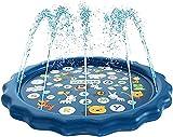 Alfombra de Juego Para Rociar y Salpicar Agua, Almohadilla de Salpicaduras Inflable Portátil Duradera Para Niños, Piscina Para Niños con Rociado Antideslizante Para Jardín de Verano Al Aire Libre
