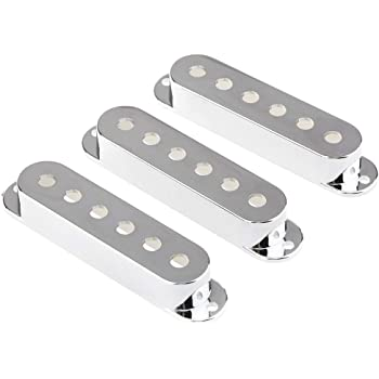 Musiclily 52mm Plastic Strat Style Single Coil Pickup Cover Set for Fender Stratocaster Guitar,Chrome(Pack of 3)