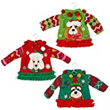 RAZ Imports Dogs of Christmas 7-Inch Dog Sweater Ornament, Assortment of 3