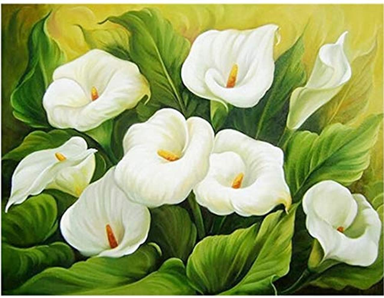 Diamond Mosaic Rhinestones DIY 5D Diamond Painting Flowers White Calla Lily Cross Stitch Diamond Embroidery Canvas Painting