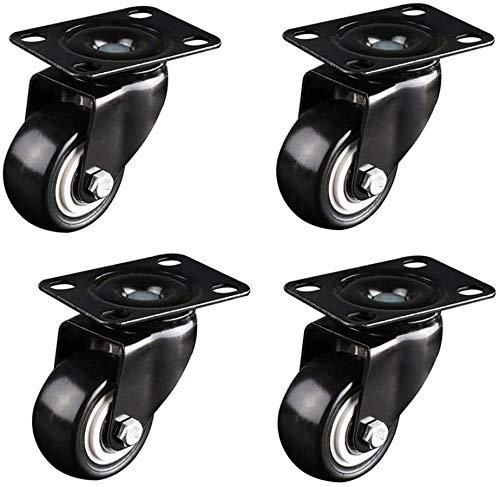 Roulettes Universal Silencieux, Heavy Duty Meubles Roues, Roulettes industrielles avec freins, Chaise de bureau Ordinateur de table Accessoires Roulettes, Plaques fixes / Double Roulements / absorptio