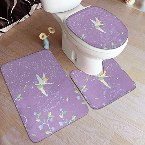 3-Pack Bath Mat Set Tinkerbell with Flower Non Slip Bathroom Rug Set, U-Shaped Contour Mat and Lid Cover