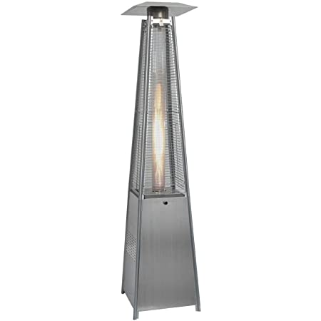 13KW Glass Tube Real Flame Gas Pyramid Patio Heater in Stainless Steel