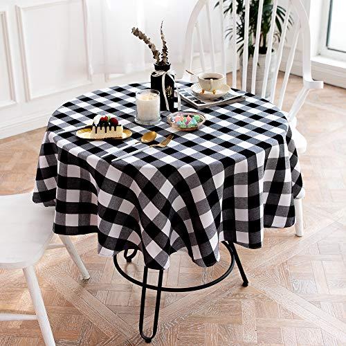 Abwaschbare Tapeten verblassen Erholung und knittern die Tischabdeckung antibakterielles Reinigungstuch Mode Kreis Tuch Tapet-Schwarzweiss-140 cm Durchmesser