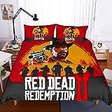ZKDT -Red Dead Redemption Funda de edredón, microfibra, suave y cómoda, juego de 3 piezas, cremallera invisible (estilo 2, 135 x 200 cm)