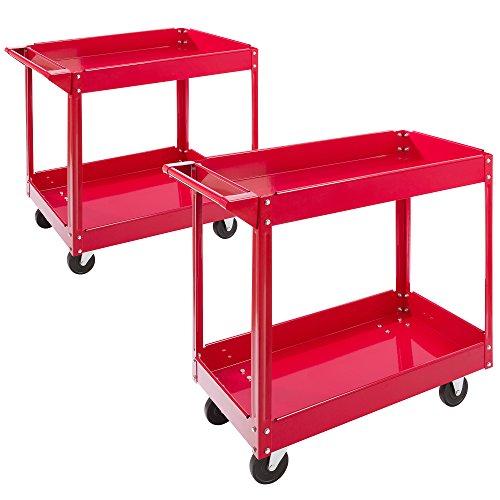 Arebos Werkstatt-Rollwagen Montagewagen/Große Belastbarkeit bis 100 kg / 2 oder 3 Fächer/Einzeln oder als Set (2 Fächer - 2er Set)