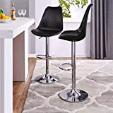 SAVYA HOME® Curvy Kitchen Stool/BAR Stool (Combo Qty-2) Black Color