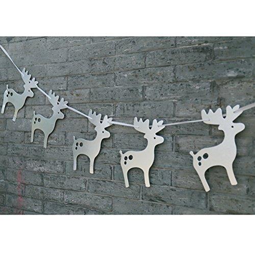 ROSENICE Elch Girlanden Buting Banner Hängen Bäume Papierverzierung mit Band Weihnachten Deko