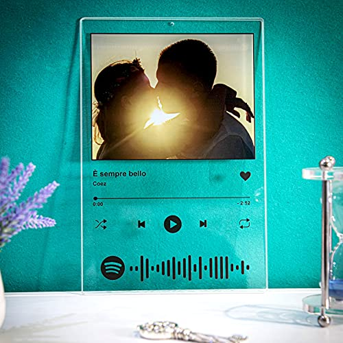 Spotify Code Targa PLEXI Personalizzata con la Tua Foto e Il codice da inquadrare con Il Cellulare per Ascoltare la Tua Canzone Preferita