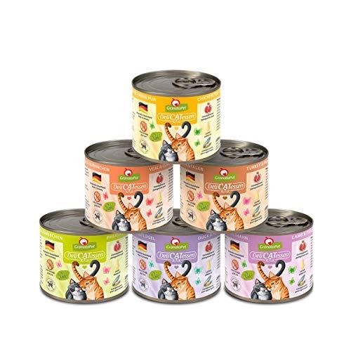 GranataPet Delicatessen Multipack ohne Fisch, Nassfutter für Katzen im Probierpaket, Alleinfuttermittel ohne Getreide, Katzenfutter mit hohem Fleischanteil & hochwertigen Ölen, 6 x 200g