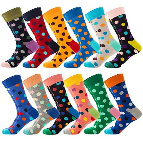Jielucix Bunte Socken Damen Lustige Baumwolle Farbige Anzugsocken für Frauen 39-42 (12 paare dot, 12)