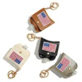 GussyUp [4 Pc/Set] Hand Sanitizer Holder Keychain, Leak-Proof Travel Size Portable Squeeze Bottle, Premium Leather Holder, Backpacks, purses, diaper bags, bags (American Flag (Premium Leather)