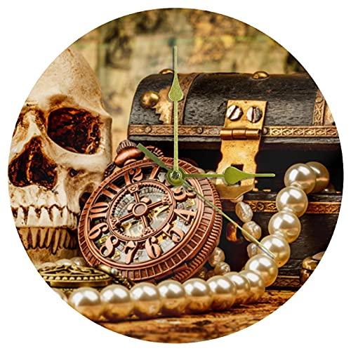 Yoliveya Reloj de pared redondo silencioso de pirata y tesoro decorativo sin garrapatas reloj silencioso para regalo en casa, oficina, cocina, guardería, sala de estar, dormitorio, 25 cm