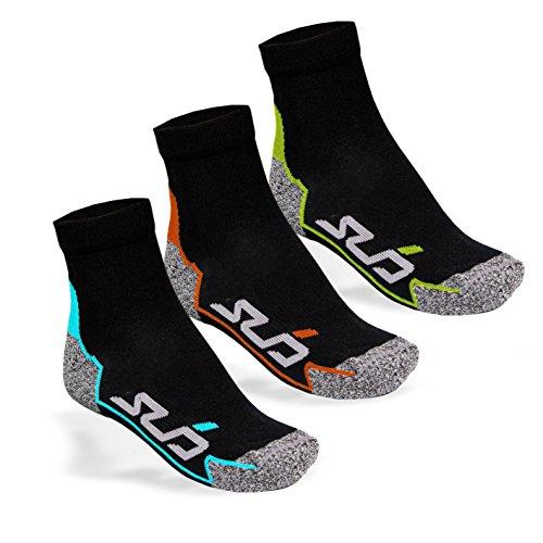 Sub Sports Feuchtigkeitsableitende Laufsocken mit nahtlosen Zehen 3 Paar schwarz - Schwarz Multi Pack - M (EU 39-42)