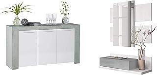 Habitdesign - Aparador Comedor Moderno Buffet Salón Ambit 144x80x42 cm Color Blanco Artik y Gris Cemento + Recibidor c...