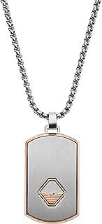 Emporio Armani Uomo EGS2634040 Collana con Ciondolo, Acciaio Inossidabile, Argento