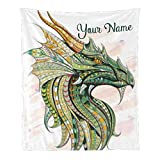 Custom Blanket with Name Text,Personalized Watercolor Dragon Super Soft Fleece Throw Blanket for Couch Sofa Bed (50 X 60 inches)