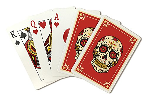 Day of the Dead - Sugar Skull and Flower Pattern (Playing Card Deck - 52 Card Poker Size with Jokers)