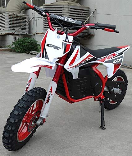 Mini moto para niños electrica - Mini pit bike con motor de 350w, baterias de 24V y 12ah. Niños/as de 5 a 12 años. PITBIKE (ROJO)