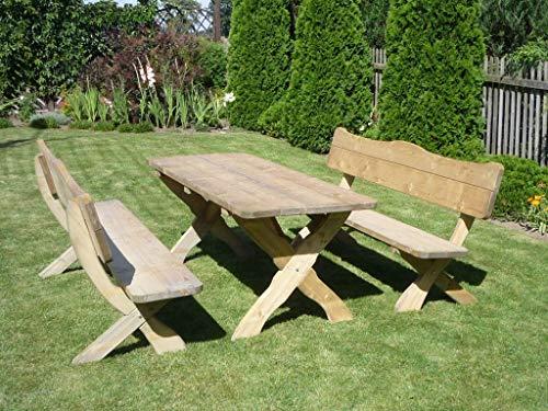 Bella Garden Rustikale, Massive Gartenmöbel Garnitur aus Kiefernholz, Modell Filip 200cm, Holzgarnitur