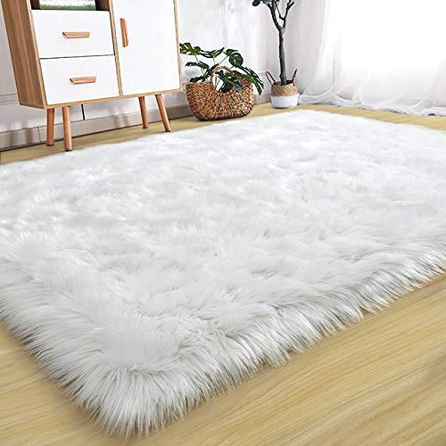Rostyle Soft Fluffy Rug Faux Fur Sheepskin Rugs for Bedroom Living Room, Luxury Christmas Rug Fuzzy Carpet Furry Besides Rug for Girls Kids Nursery, 3 ft x 5 ft, White