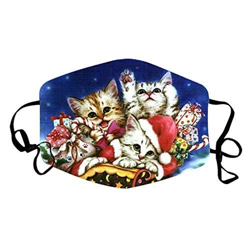 PPangUDing Weihnachten Mundschutz mit Motiv Waschbar Baumwolle Wiederverwendbar Atmungsaktive Staubdicht Halstuch Schlauchtuch Schlauchschal Multifunktional für Damen Herren