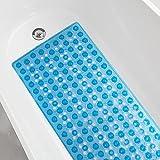 AmazerBath Patented Non-Slip Bathtub Mat 35.5x16 Inches Large Bath Tub Mat with Big Suction Cups Drain Holes Anti Slip Bath Mat for Tub, Bathroom Shower Mat Machine Washable, Soft on Feet, Clear Blue