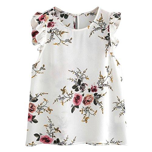 FRAUIT shirt met lange mouwen dames bloemenprint vlinderhuls blouse crop tops vest tank chiffon T-shirt