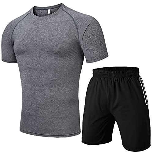 Conjunto de 2 piezas para hombre, cintura elástica, bolsillos informales, pantalones cortos de manga corta sólida, conjunto de chándal