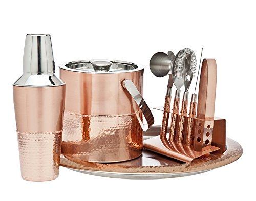 Godinger 9 Piece Barware Set, Copper