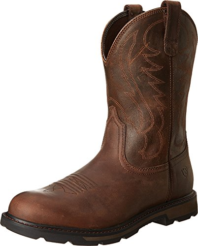 Ariat Pull Groundbreaker Round Toe Men's Safety, Wide Calf, Work Boots, Brown