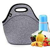 LOVAC Insulated Neoprene Lunch Bag for Men,Reusable Lunch Tote,Durable and Waterproof Lunch Bags,Soft and Lightweight (Black-Grey)