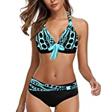 LANSKIRT Trajes de Baño Mujer 2020 Trikini Biquini Vikinis Cintura Alta Traje de Baño Dos Piezas Bohemios Ropa de Playa con Bowknot Vikinis Bañadores Secado Rápido S-8XL