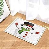 ZHWL6688 Fondo Blanco, muñeco de Nieve Blanco, Sombrero Negro, Bufanda Verde, Guantes Rojos, Nariz Amarilla, Ojos Negros Alfombra de baño Impresa digitalmente en 3D